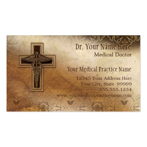 Physician Medical Doctor Practice Christian Symbol Business Card Template