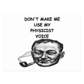 physicist joke postcard