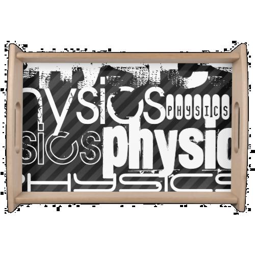 Physics; Black & Dark Gray Stripes Serving Tray