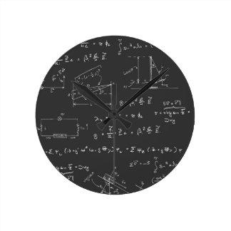 Physics diagrams and formulas round clock