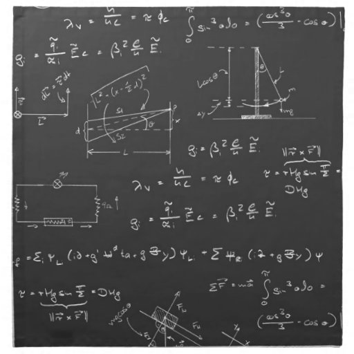 Physics diagrams and formulas cloth napkins