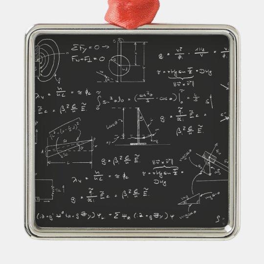 Physics diagrams and formulas metal ornament