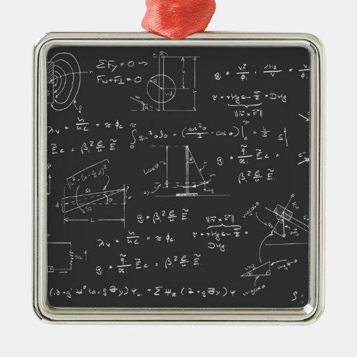 Physics diagrams and formulas ornaments