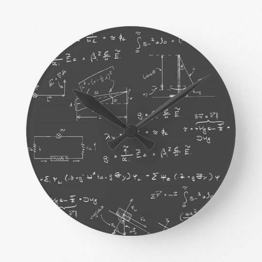 Physics Diagrams And Formulas Round Clock