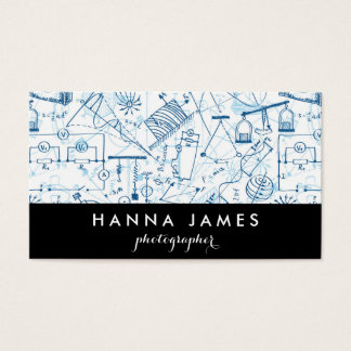 Physics Doodle Science Sketch Personalized Text Business Card