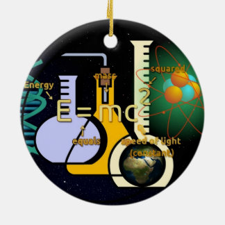 Physics E=mc2 colorful design Double-Sided Ceramic Round Christmas Ornament