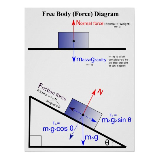 Physics Free Body Force Diagram Poster Zazzle