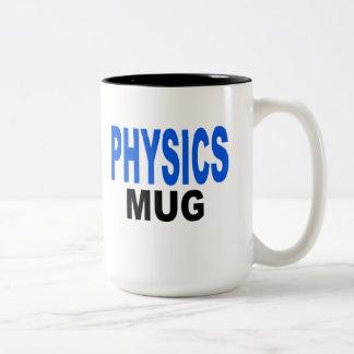 """Physics Mug, gift mug. Text reads, """"PHYSICS MUG"""" Two-Tone Coffee Mug"""