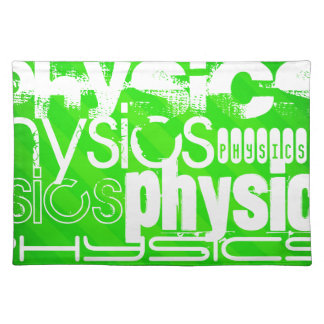 Physics; Neon Green Stripes Cloth Place Mat