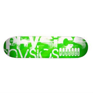Physics; Neon Green Stripes Custom Skateboard