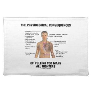 Physiological Consequences Pulling All Nighters Cloth Placemat