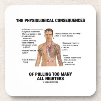 Physiological Consequences Pulling All Nighters Beverage Coasters