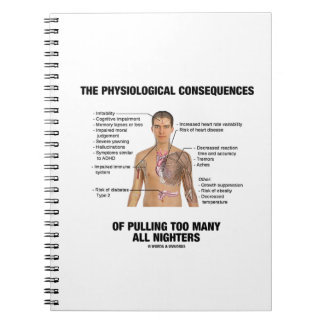 Physiological Consequences Pulling All Nighters Spiral Note Books