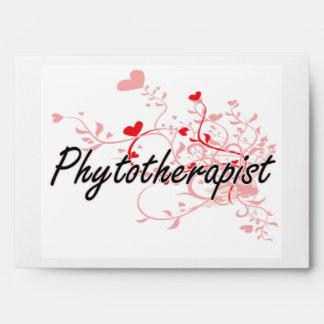 Phytotherapist Artistic Job Design with Hearts Envelope