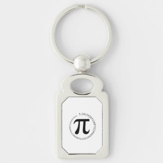 Pi (π) Day Silver-Colored Rectangular Metal Keychain