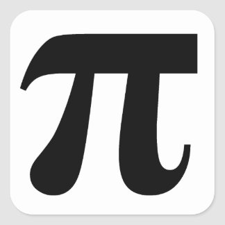 Pi π Value of Pi 3.14159 Mathematical Constant Big Square Sticker