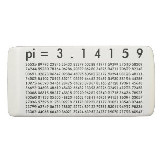 Pi= 3.14159 Black White Math Science Pi Day Digits Eraser at Zazzle