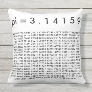 pi= 3.14159 Black White Math Science pi Day Digits Outdoor Pillow