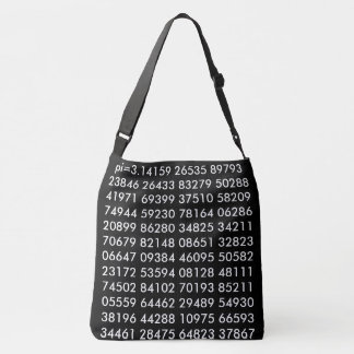 pi= 3.14159 Math Science pi Day Digits black white Crossbody Bag