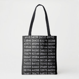 pi= 3.14159 Math Science pi Day Digits black white Tote Bag