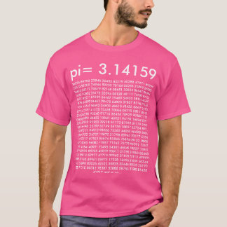 pi= 3.14159 Pink Math Fashion pi Day Digits T-Shirt