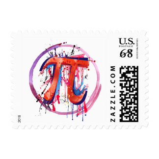 Pi, Action Painting Art Stamp