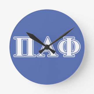 Pi Alpha Phi White and Blue Letters Round Clocks