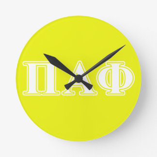 Pi Alpha Phi White and Yellow Letters Round Wallclock