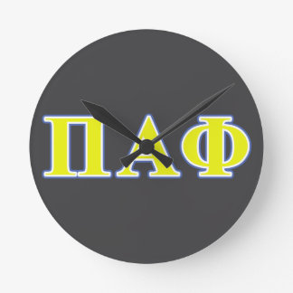Pi Alpha Phi Yellow and Blue Letters Wallclocks