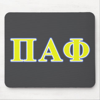 Pi Alpha Phi Yellow and Blue Letters Mousepad