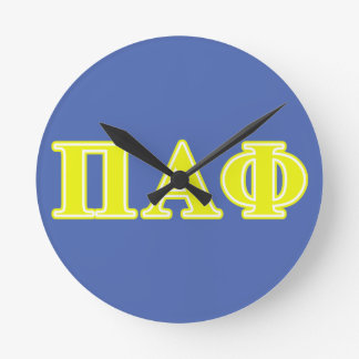 Pi Alpha Phi Yellow Letters Round Wallclock