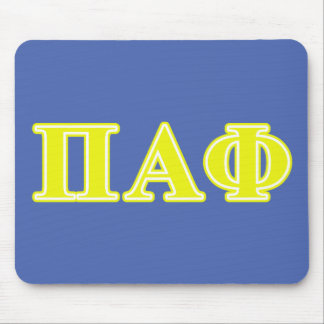 Pi Alpha Phi Yellow Letters Mousepads