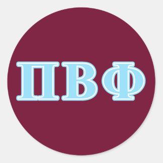Pi Beta Phi Blue Letters Classic Round Sticker