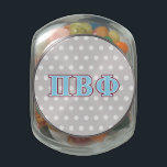 """Pi Beta Phi Maroon and Blue Letters Glass Jar<br><div class=""""desc"""">Check out these official Pi Beta Phi designs! Personalize your own Greek merchandise on Zazzle.com! Click the Customize button to insert your own name, class year, or club to make a unique product. Try adding text using various fonts &amp; view a preview of your design! Zazzle&#39;s easy to customize products...</div>"""