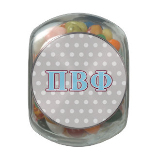 Pi Beta Phi Maroon and Blue Letters Jelly Belly Candy Jar