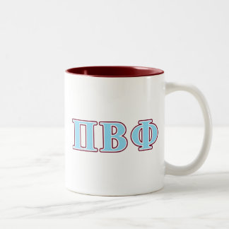 Pi Beta Phi Maroon and Blue Letters Two-Tone Coffee Mug