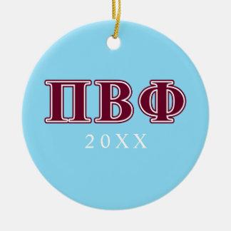 Pi Beta Phi Maroon Letters Ceramic Ornament