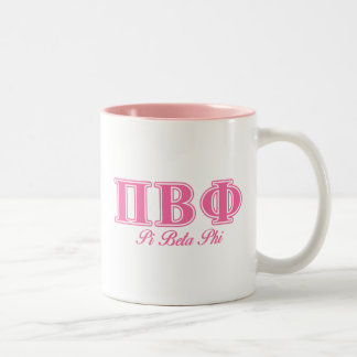 Pi Beta Phi Pink Letters Two-Tone Coffee Mug