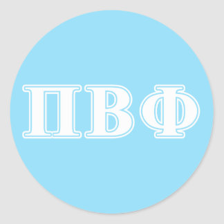 Pi Beta Phi White and Blue Letters Classic Round Sticker