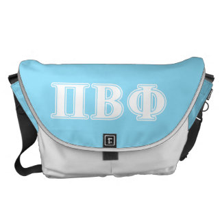 Pi Beta Phi White and Blue Letters Courier Bags