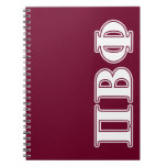 Pi Beta Phi White and Maroon Letters Spiral Notebooks