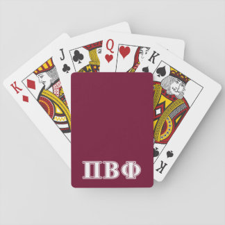 Pi Beta Phi White and Maroon Letters Card Decks