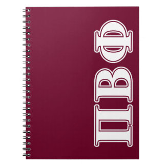 Pi Beta Phi White and Maroon Letters Spiral Note Books