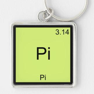 Pi - Camiseta divertida de la química del elemento Llavero Cuadrado Plateado