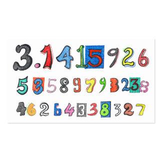 Pi colorido calculado tarjetas de visita