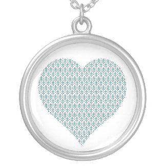 Pi Complex Heart Round Pendant Necklace