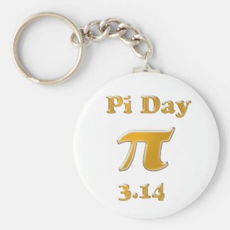 Pi Day Gold on White Keychain