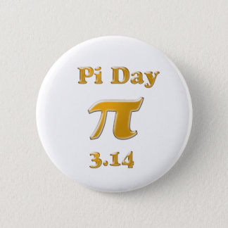 Pi Day Gold on White Pinback Button