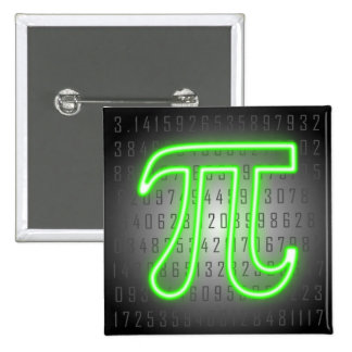 Pi Day Green Neon Button
