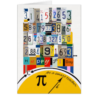 Pi Day Greetings for Teacher, Crunching Numbers Card